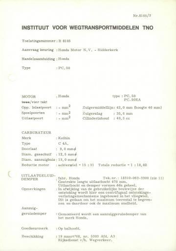 RDW keuringsverslagen Honda PC50 19 Maart 1968 5303 B8105