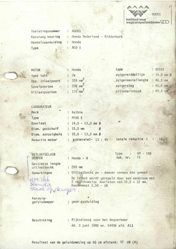 RDW keuringsverslagen Honda ACO 1 3 Juni 1980 54486 A0051
