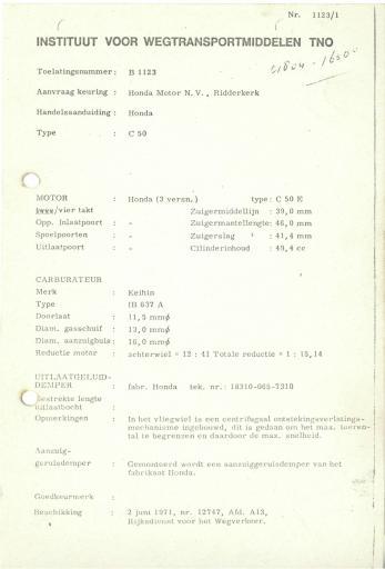 RDW keuringsverslagen Honda C50 2 Juni 1971 12747 B1123