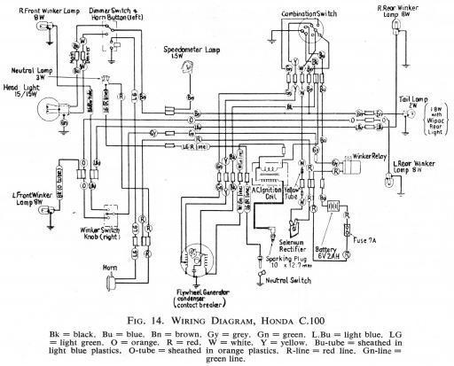 Honda C100 Wiring Schematic - HiRes