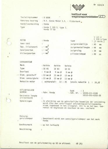 RDW keuringsverslagen Honda C320S-I  TT50 (Geen Datum) (Geen Dossiernr) B6004