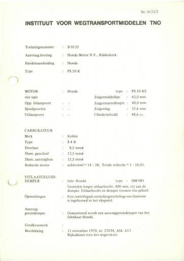 RDW keuringsverslagen Honda PS50K 11 November 1970 27034 B0132