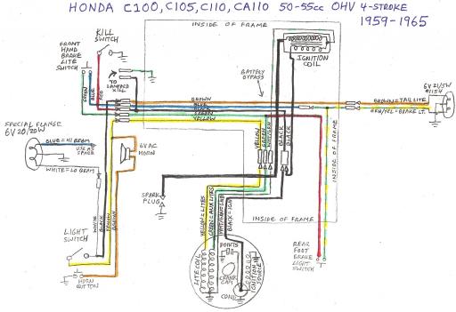 Honda C105 OHV (1959-1965) Wiring Schematic