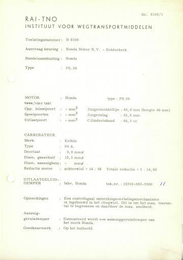 RDW keuringsverslagen Honda PS50 (Geen Datum) (Geen Dossiernr) B8109