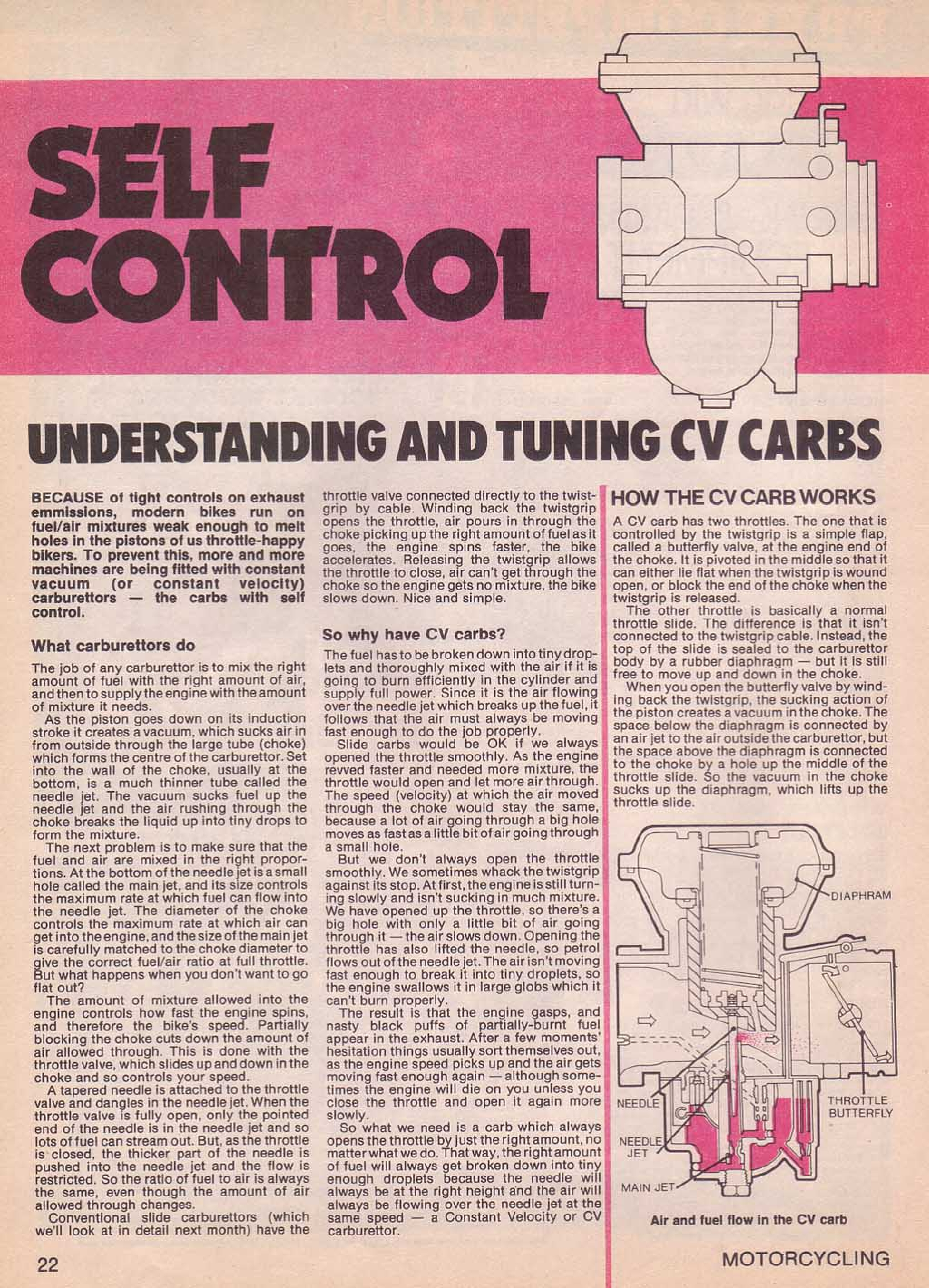 Motorcycling Magazine about CV Carburetors (July 1979)
