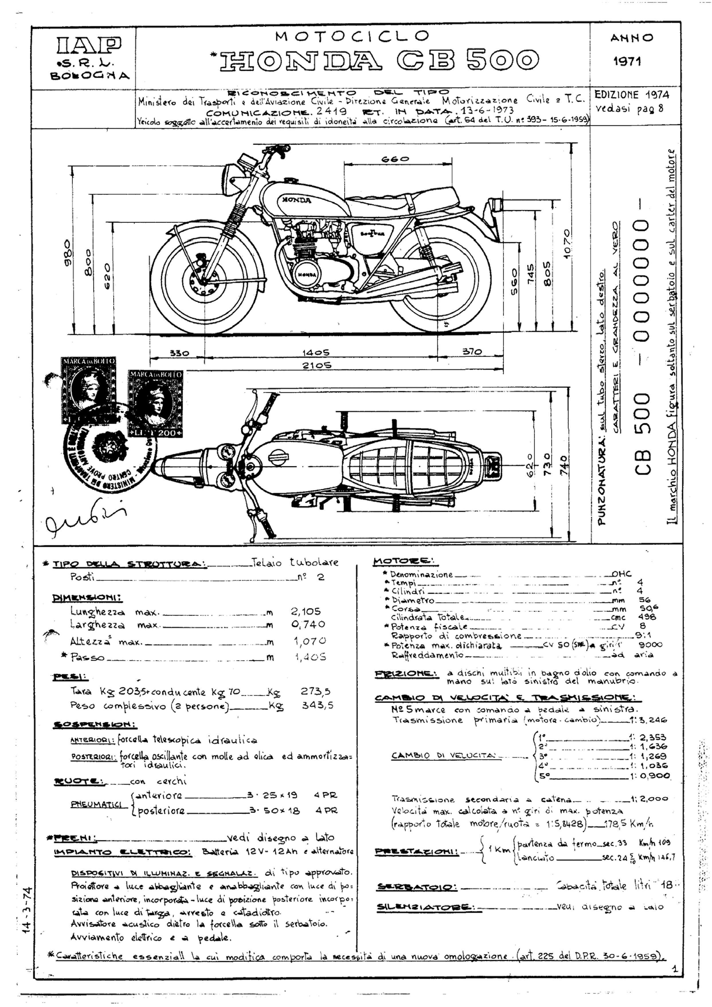 Conformity Declaration CB500 (Italian) (1974)