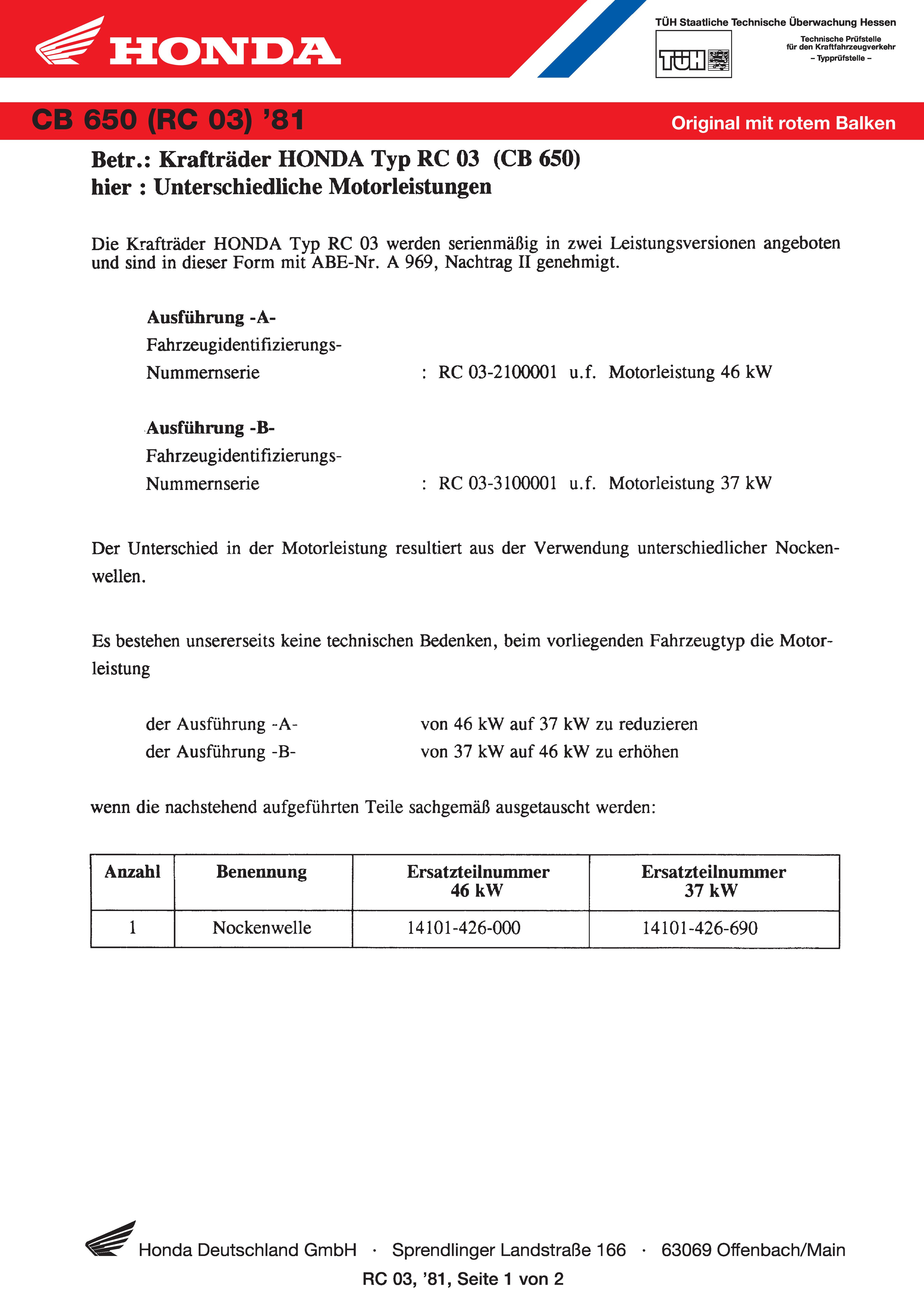 Conformity declaration Honda CB650 RC03 (Germany) (1981)