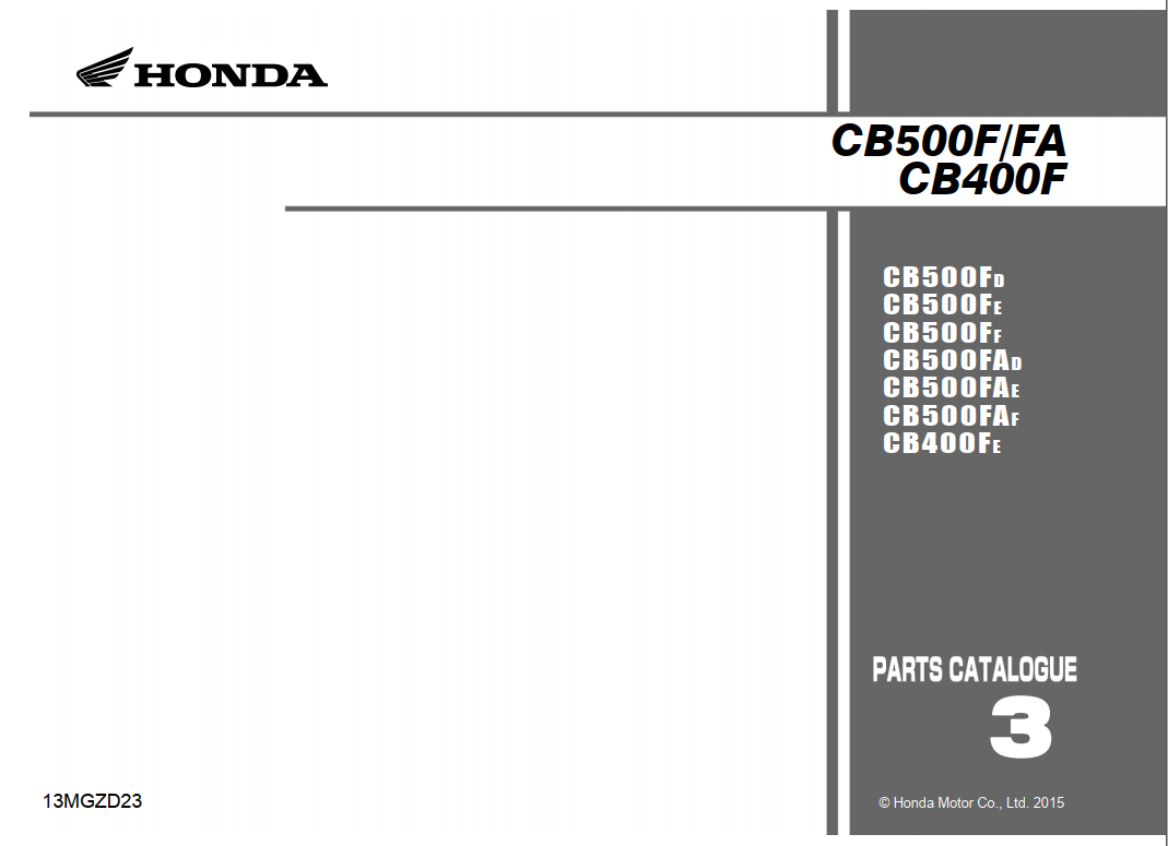 Parts list for Honda CB400F (2015)