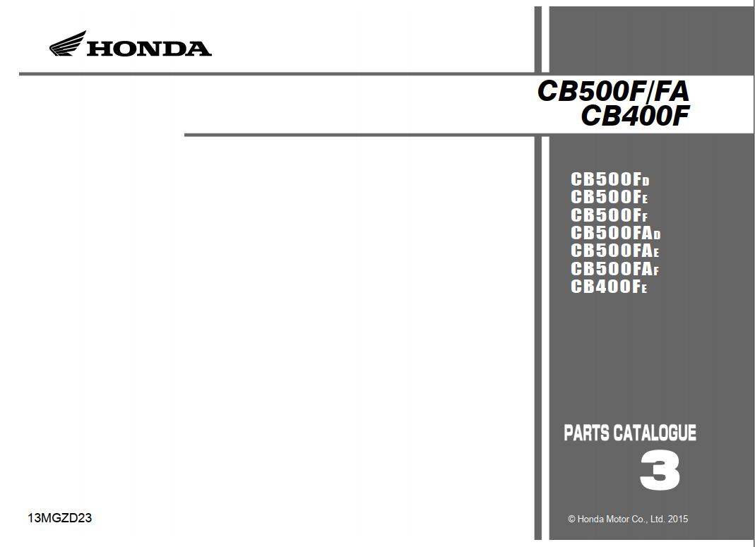 Parts list for Honda CB500F (2015)