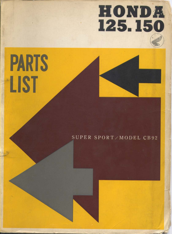 Parts List for Honda CB92/CB95 (1960)