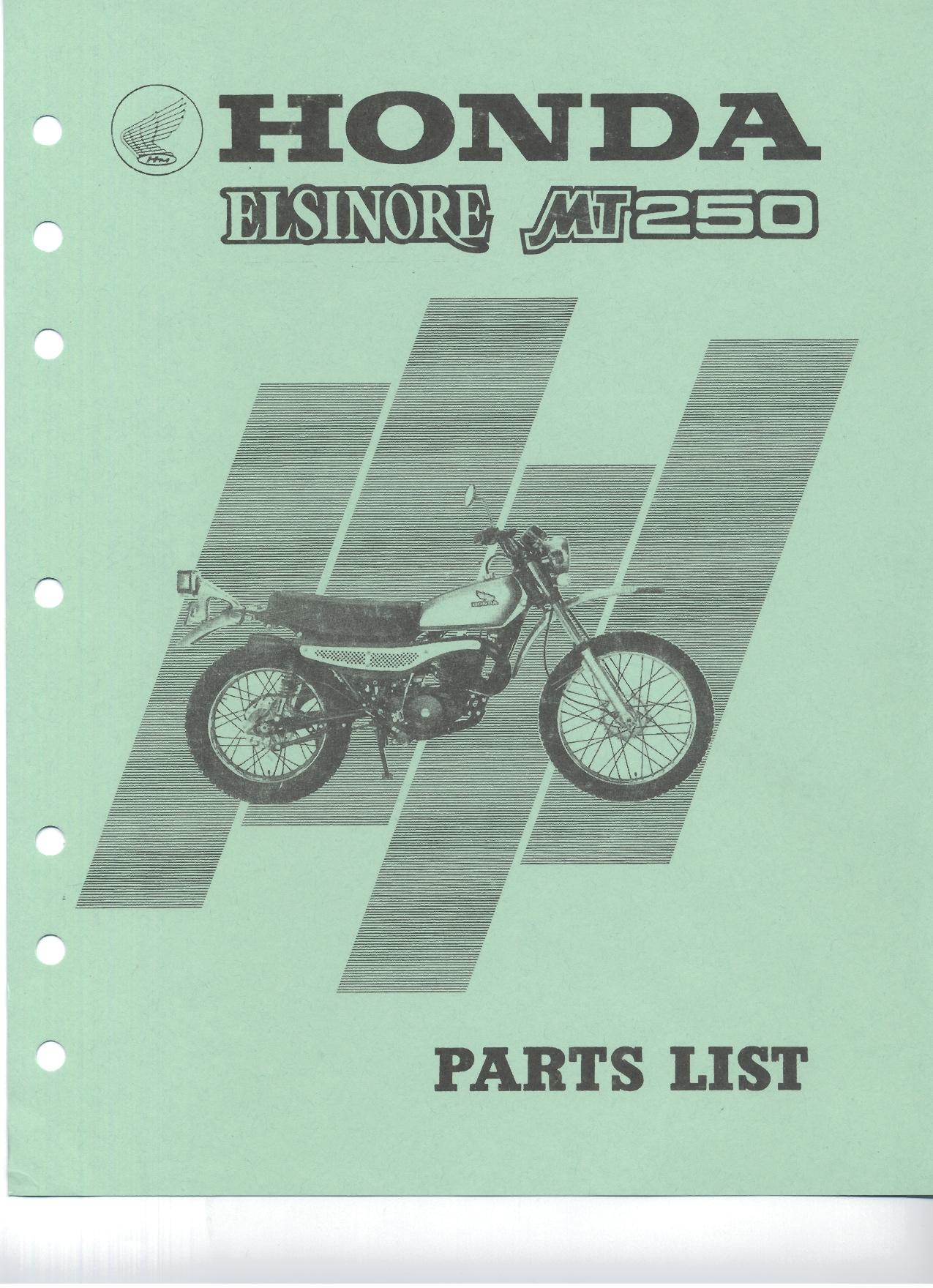 Parts list for Honda MT250 Elsinore (1974)