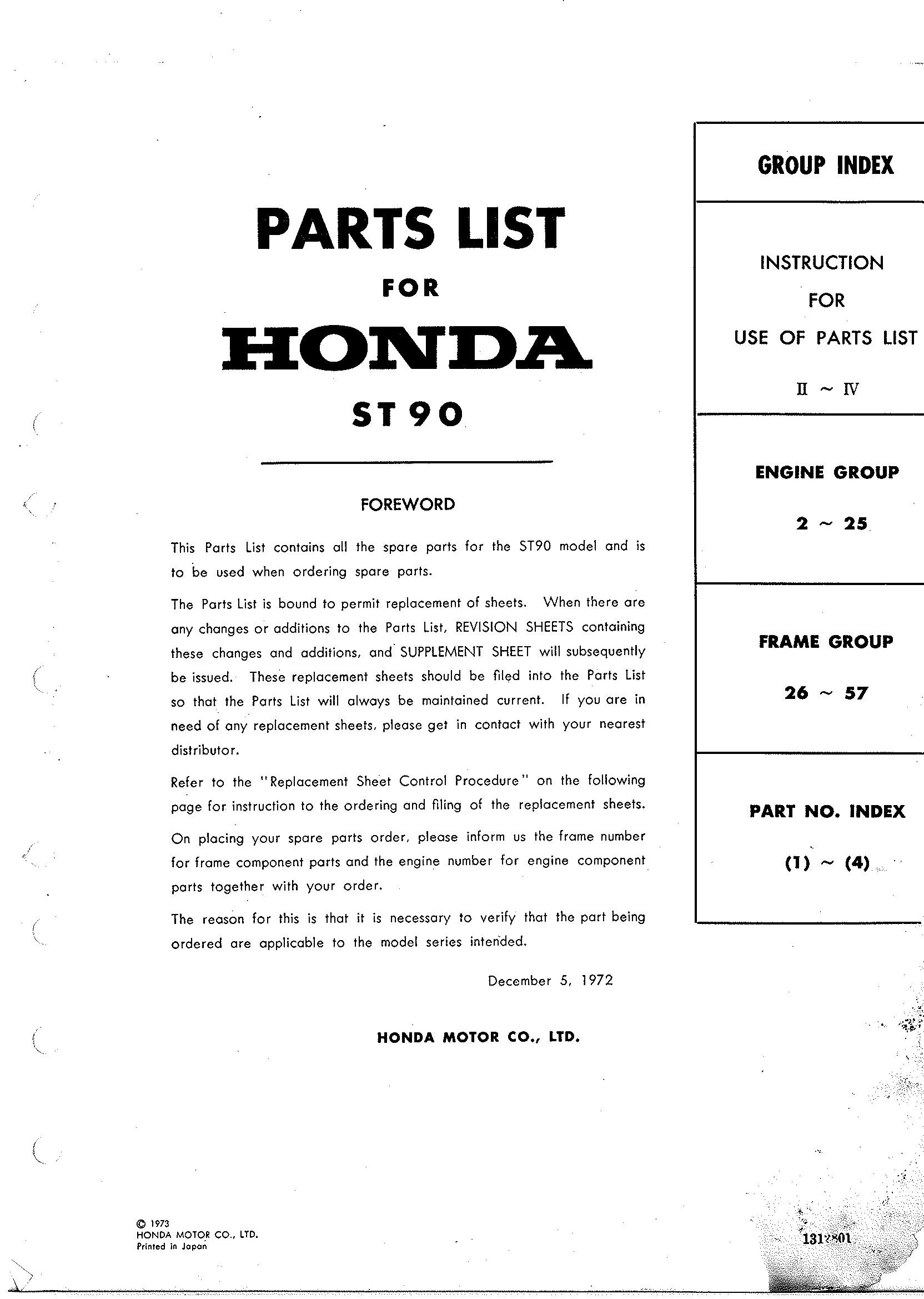 Parts List for Honda ST90 (1973)
