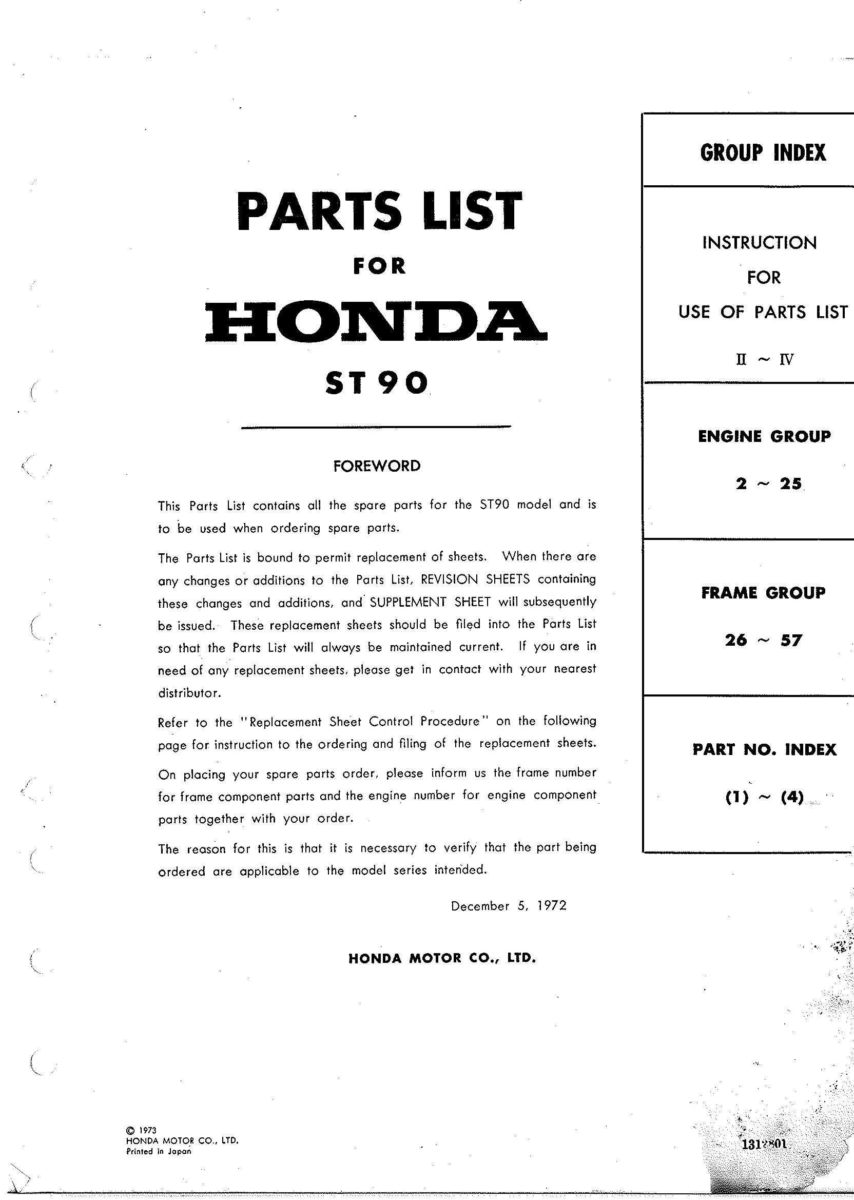 Parts List for Honda ST70G (1973)