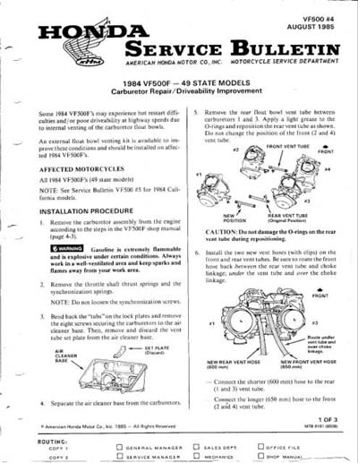 Service Bulletin for Honda VF500F No.4 August 1985