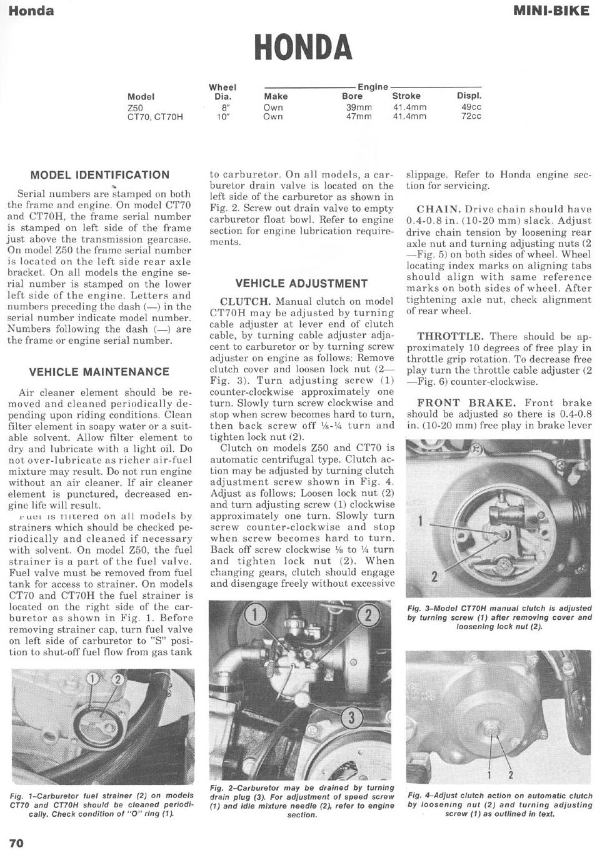 Service manual for Honda CT70H (1972)