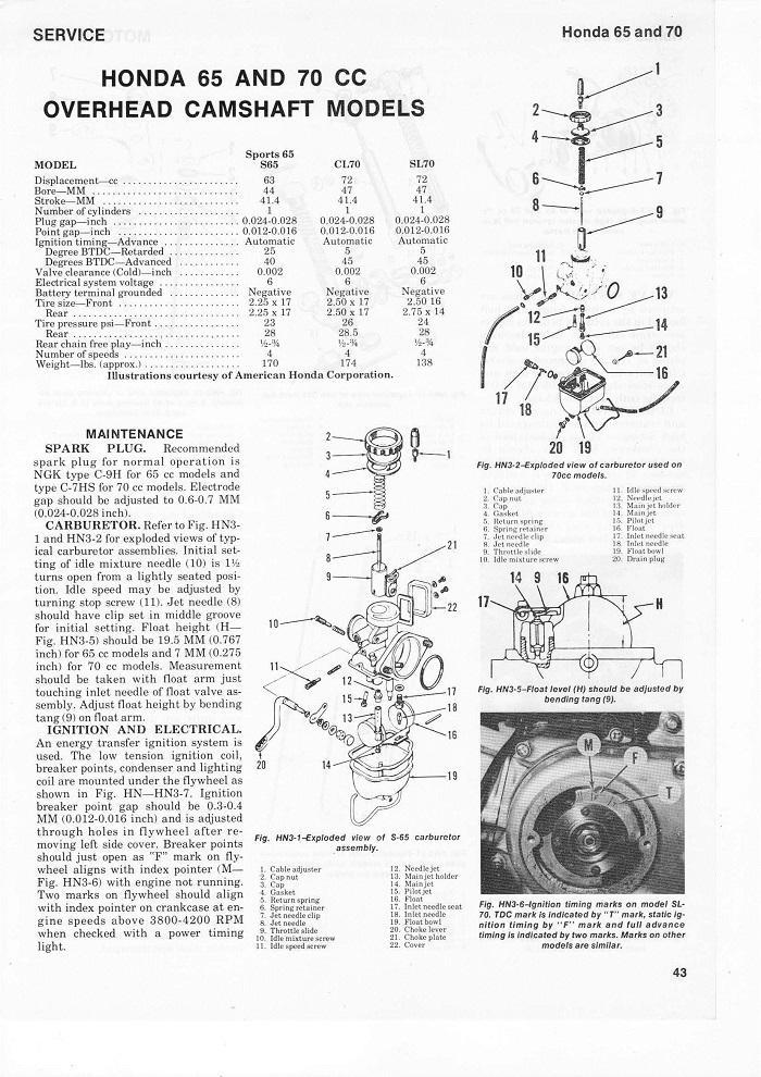 Service manual for Honda SL70