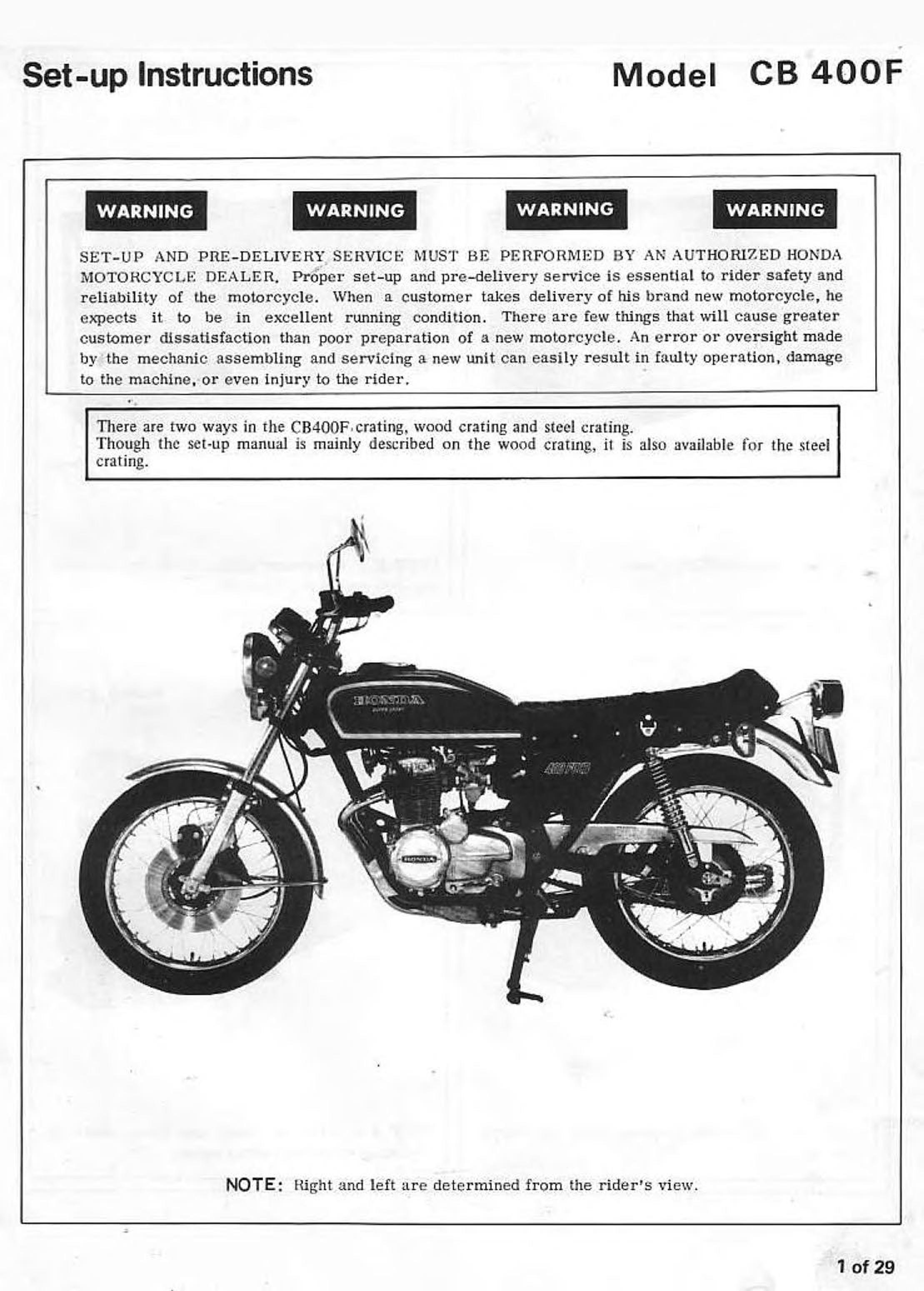 Setup Manual for Honda CB400F