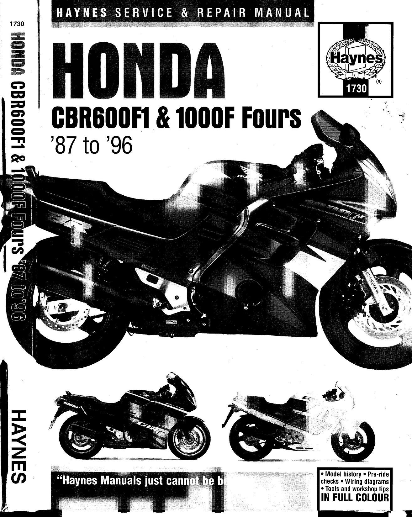 Workshop manual for Honda CBR1000F (1987-1996)