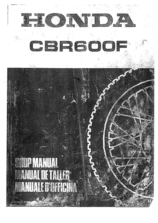Workshop Manual for Honda CBR600F (1987-1990) (Multi-lingual)