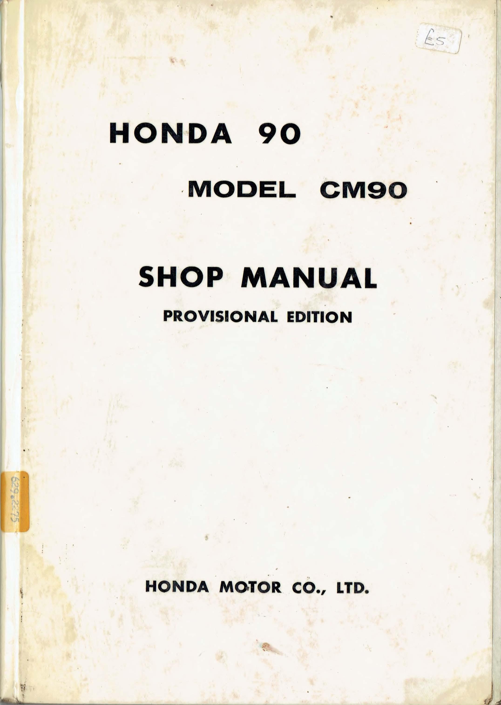 Workshop Manual for Honda CM90 (1965) (Provisional edition)