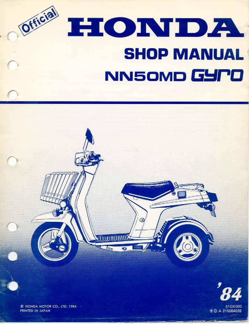 Workshop Manual for Honda NN50MD Gyro S (1984)