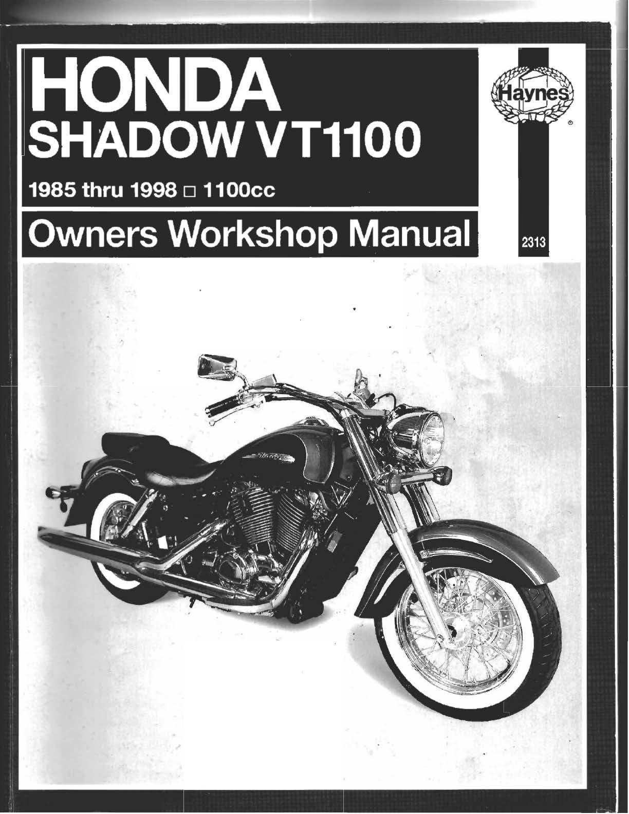 Workshop manual for Honda VT1100C VT1100T Shadow (1985-1998)