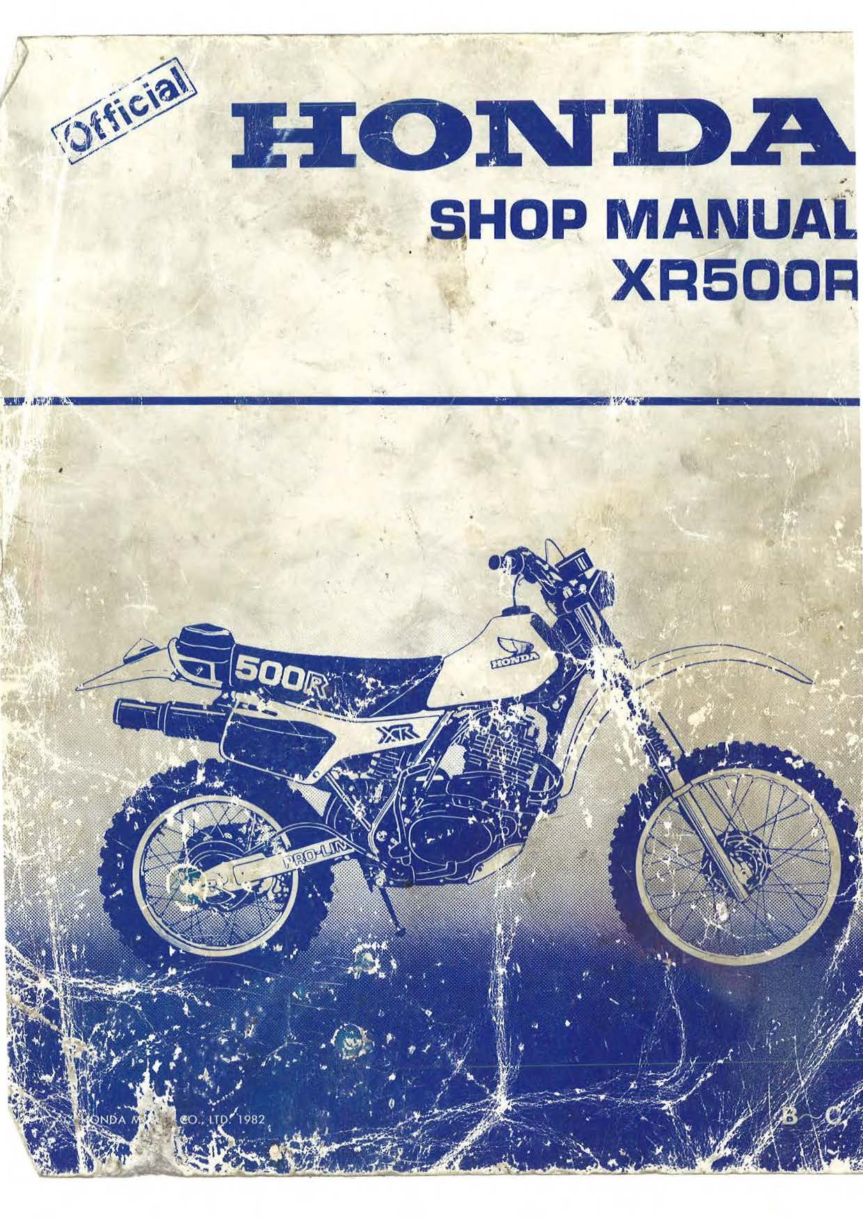 Workshop manual for Honda XR500R (1982)