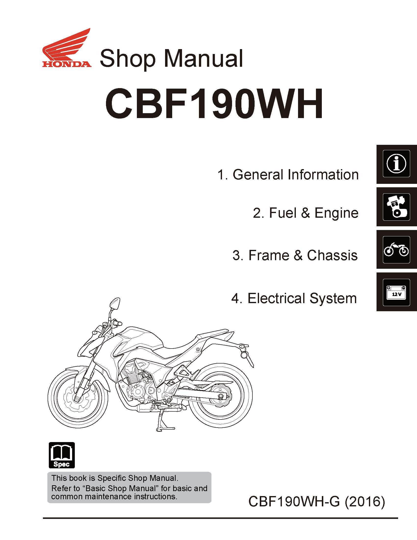Workshop manual for Honda CBF190WH-G (2016)
